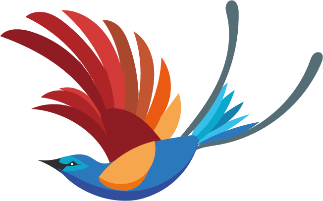 Oiseau bleu-rouge